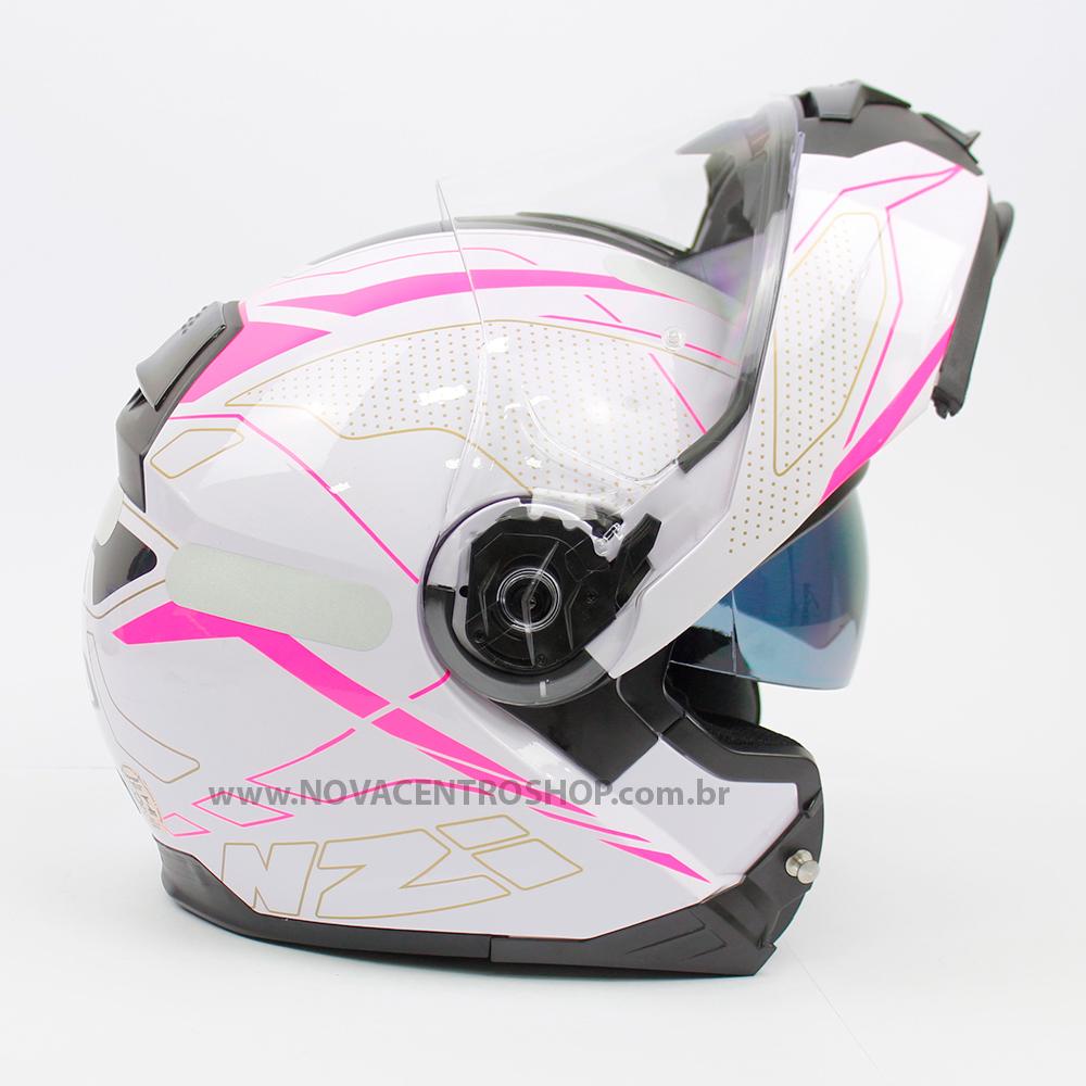Capacete NZI Combi 2 Sword (C/ VISEIRA SOLAR) Branco/Rosa - Escamoteável - LANÇAMENTO 2021  - Nova Centro Boutique Roupas para Motociclistas