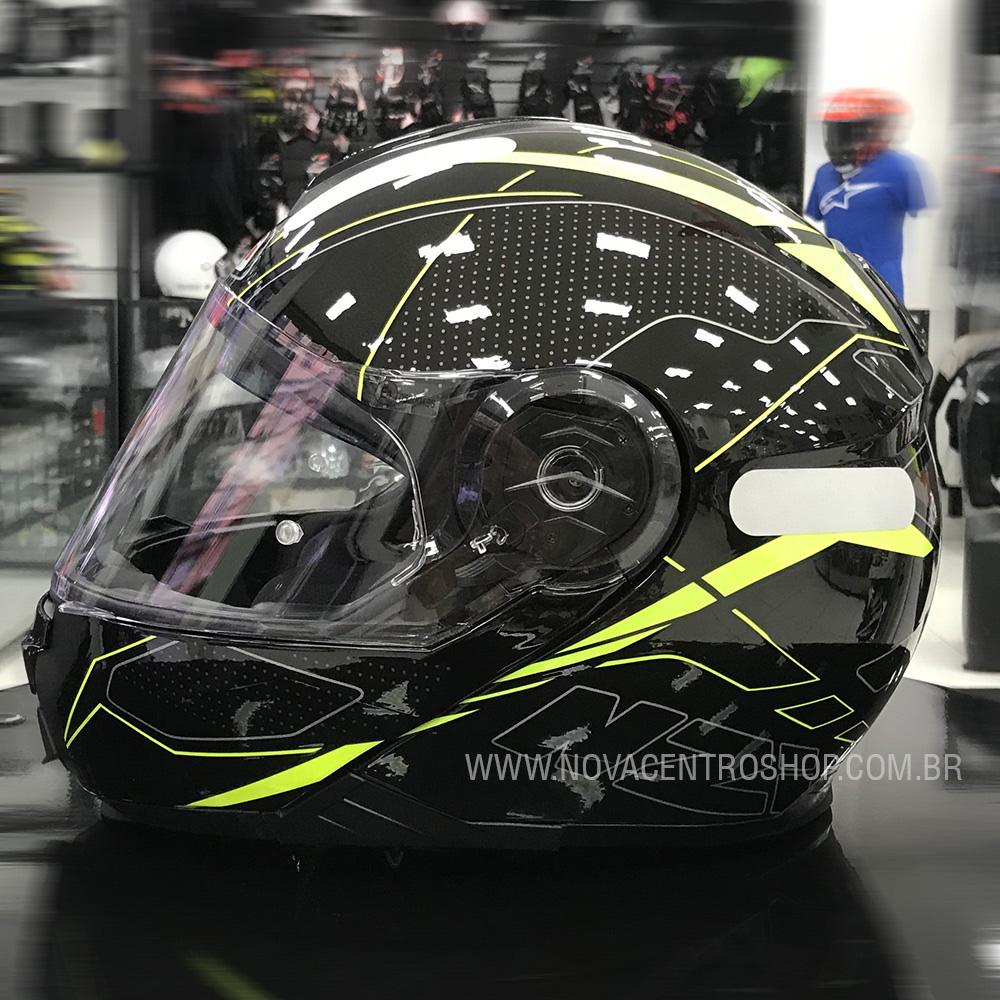 Capacete NZI Combi 2 Sword (C/ VISEIRA SOLAR) Preto/Amarelo - Escamoteável - LANÇAMENTO 2021  - Nova Centro Boutique Roupas para Motociclistas