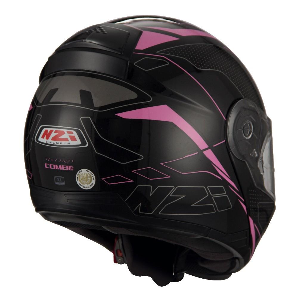 Capacete NZI Combi 2 Sword (C/ VISEIRA SOLAR) Preto/Rosa - Escamoteável - LANÇAMENTO 2021  - Nova Centro Boutique Roupas para Motociclistas