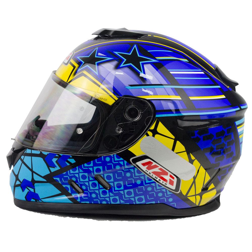 Capacete NZI Fusion Flechas Preto/Amarelo/Azul - Promoção  - Nova Centro Boutique Roupas para Motociclistas