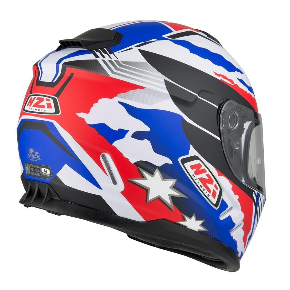 Capacete NZI Fusion Mick Branco/Azul/Vermelho  - Nova Centro Boutique Roupas para Motociclistas