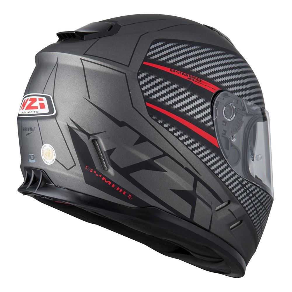 Capacete NZI Symbio 2 Fiber Volt (C/ VISEIRA SOLAR) Cinza/Vermelho Fosco  - Nova Centro Boutique Roupas para Motociclistas