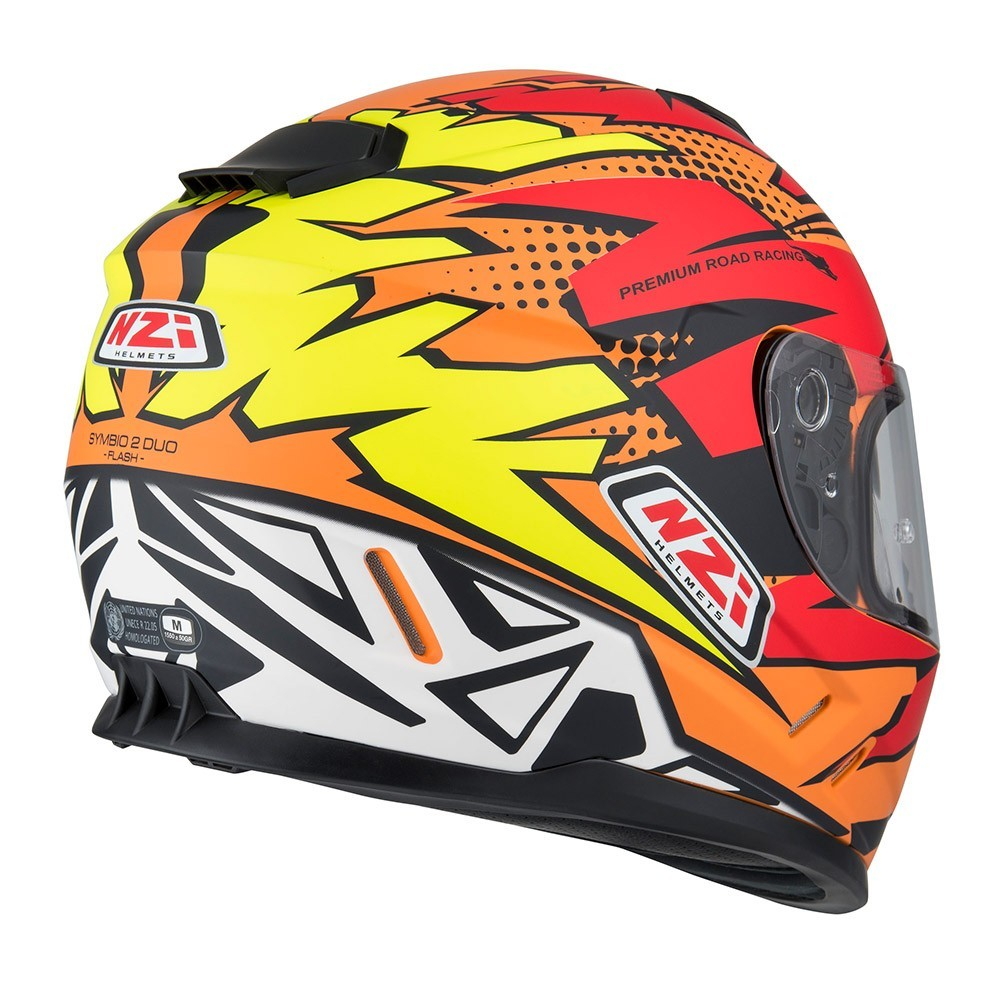 Capacete NZI Symbio 2 Flash (C/ VISEIRA SOLAR) Laranja/Vermelho/Amarelo  - Nova Centro Boutique Roupas para Motociclistas