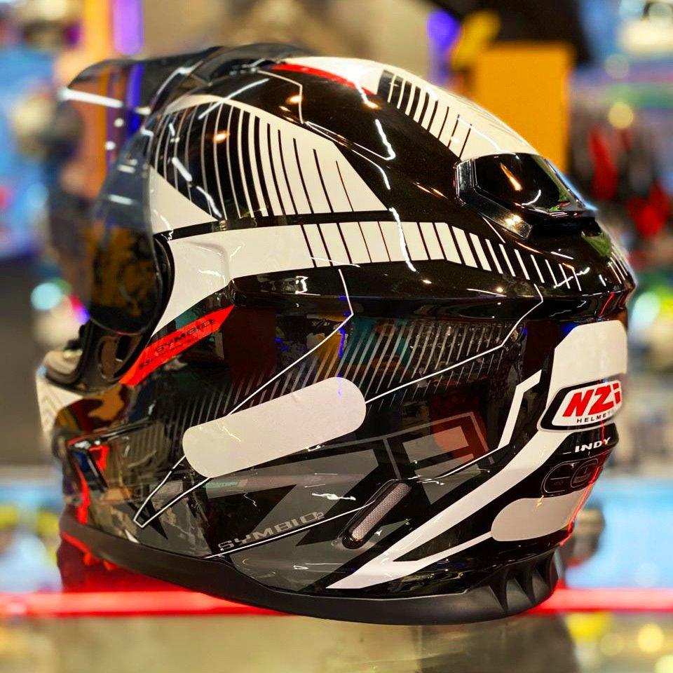 Capacete NZI Symbio 2 Indy (C/ VISEIRA SOLAR) Preto/Branco  - Nova Centro Boutique Roupas para Motociclistas