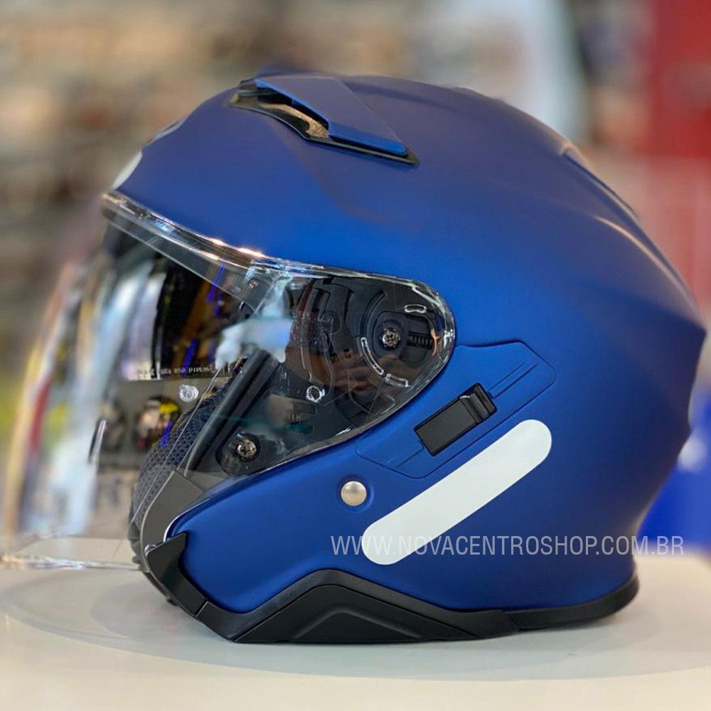 Capacete Shoei J-Cruise 2 Azul Fosco Aberto c/ Viseira Solar  - Nova Centro Boutique Roupas para Motociclistas