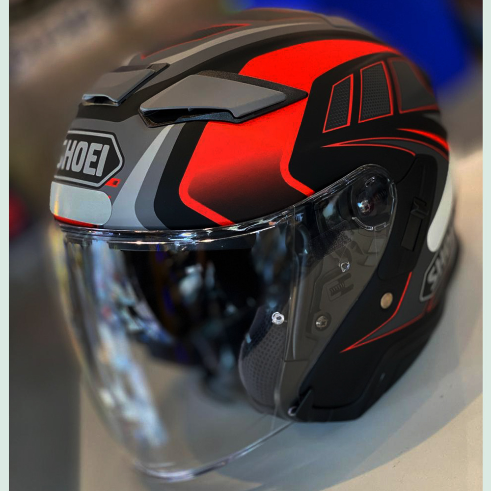 CAPACETE SHOEI J-CRUISE II AGLERO TC-1 VERMELHO ABERTO - C/ VISEIRA SOLAR (J-CRUISE 2)  - Nova Centro Boutique Roupas para Motociclistas