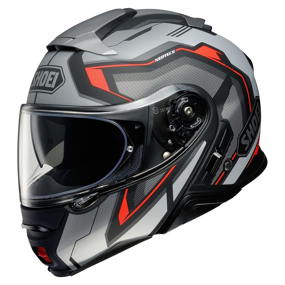 Capacete Shoei Neotec 2 Respect TC-5 Preto/Cinza/Vermelho Escamoteável - LANÇAMENTO 2021  - Nova Centro Boutique Roupas para Motociclistas