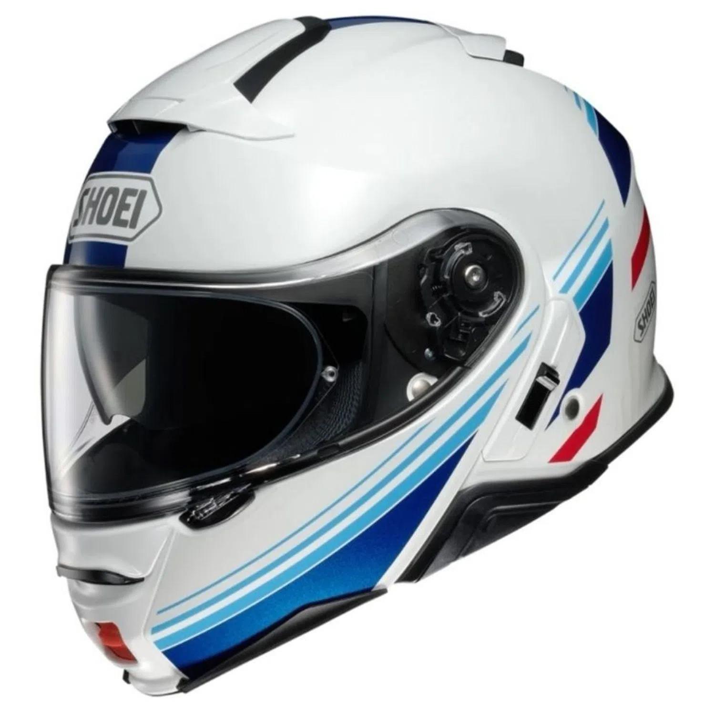 Capacete Shoei Neotec 2 - Separator - TC-10 - Branco/Azul - Escamoteável