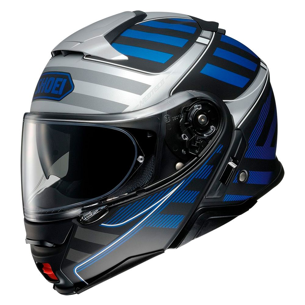 Capacete Shoei Neotec 2 - Splicer - TC-2 - Preto/Cinza/Azul - Escamoteável  - Nova Centro Boutique Roupas para Motociclistas
