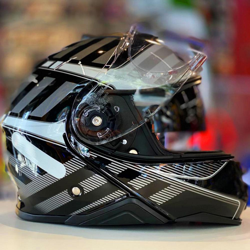 Capacete Shoei Neotec 2 Splicer TC-5 - Preto/Cinza - Escamoteável  - Nova Centro Boutique Roupas para Motociclistas