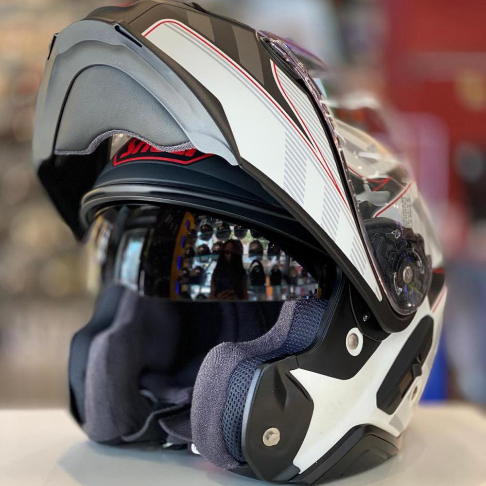 Capacete Shoei Neotec 2 Splicer TC-6 - Preto/Cinza/Vermelho - Escamoteável  - Nova Centro Boutique Roupas para Motociclistas