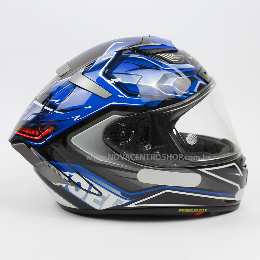 CAPACETE SHOEI X-SPIRIT 3 (X-FOURTEEN) - AERODYNE TC-2 - AZUL/PRETO/BRANCO  - Nova Centro Boutique Roupas para Motociclistas