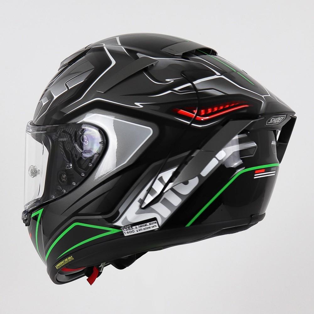 CAPACETE SHOEI X-SPIRIT 3 (X-FOURTEEN) - AERODYNE TC-4 - PRETO/CINZA/VERDE  - Nova Centro Boutique Roupas para Motociclistas