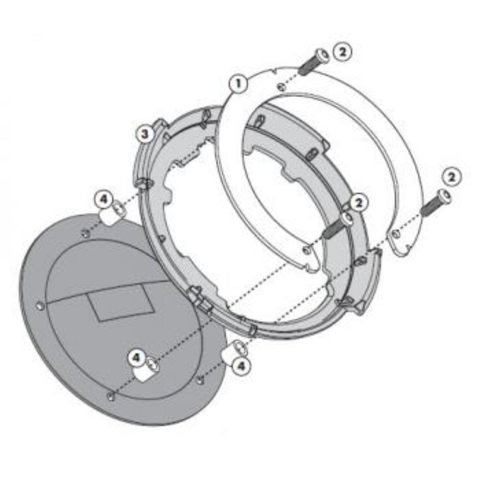 Flange Givi P/ fixação de bolsas tanklock GIVI BF31 BMW (DVS MODELOS)