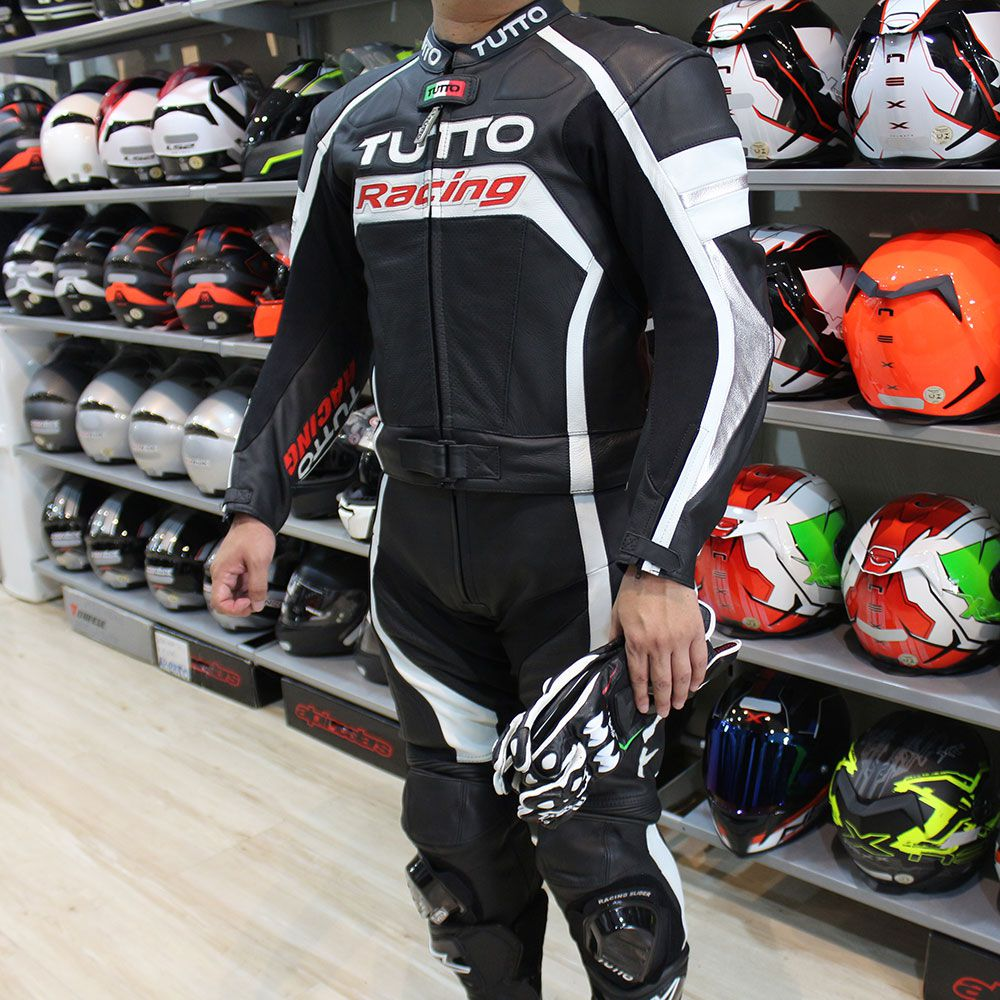 Macacão Tutto Moto Racing  2  peças Branco c/ Preto  - Nova Centro Boutique Roupas para Motociclistas
