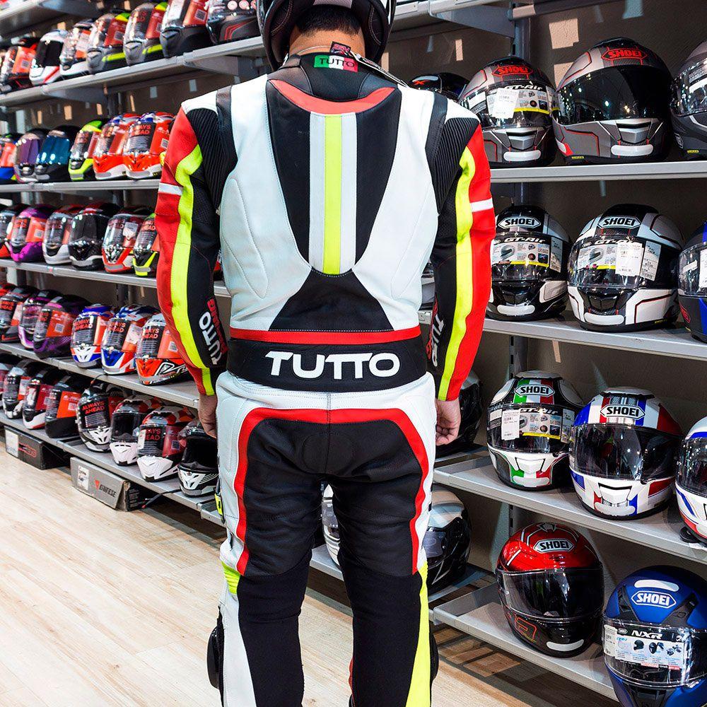 Macacão Tutto Moto Racing 2 peças Preto/Branco/Vermelho/Amarelo - BRINDE Protetor de Coluna Tutto  - Nova Centro Boutique Roupas para Motociclistas