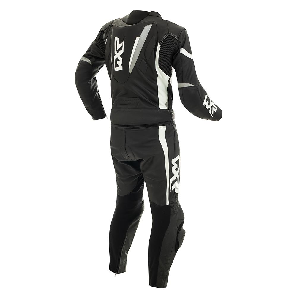 Macacão WXR KIK 2 peças Branco c/ Preto - BRINDE Protetor de Coluna Tutto  - Nova Centro Boutique Roupas para Motociclistas