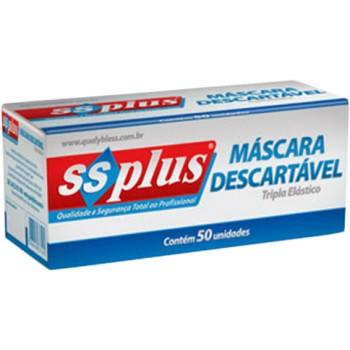MÁSCARA FACIAL SS PLUS C/ ELÁSTICO BRANCA  - Dental Curitibana