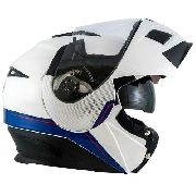 Capacete Zeus 3020 Solid White/blue Adventure Escamoteável