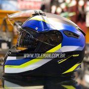 Capacete Nexx SX100 Mantik Azul/Amarelo Com Viseira Solar e Pinlock Anti-Embaçante
