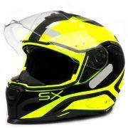 Capacete Nexx SX100 Popup Amarelo/Preto Com Viseira Solar e Pinlock Anti-Embaçante