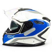 Capacete Nexx SX100 Popup Branco/Azul Com Viseira Solar e Pinlock Anti-Embaçante