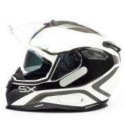 Capacete Nexx SX100 Popup Branco/Preto Com Viseira Solar e Pinlock Anti-Embaçante