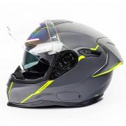 Capacete Nexx SX100R Shortcut Cinza/Verde Neon C/ Viseira Solar e BRINDE: Pinlock Anti-Embaçante