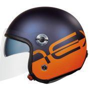 Capacete Nexx X70 City Azul/Laranja (Fosco) Tri-composto c/ Viseira reta