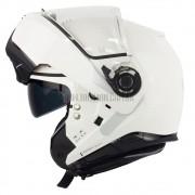 Capacete Nolan N100-5 Consistency Classic Branco (5) Escamoteável C/ Viseira Solar - Ganhe Touca Balaclava