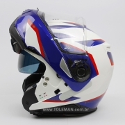 Capacete Nolan N100-5 Plus Overland Branco/Azul/Vermelho BMW (35) Escamoteável C/ Viseira Solar - Ganhe Touca Balaclava