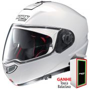 Capacete Nolan N104 Absolute Classic Metal White N-Com Escamoteável - Ganhe Balaclava Exclusiva!