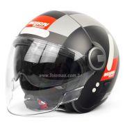 Capacete Nolan N21 Spheroid Flat Black/Red 51 - C/ Viseira Solar Interna