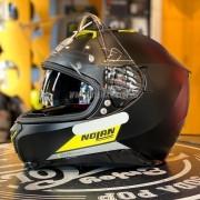 Capacete Nolan N87 Emblema Flat Black Yellow /72 C/ Viseira Solar - NOVO! - Ganhe Touca Balaclava