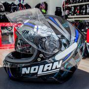 Capacete Nolan N87 Ledlight Glossy Blue C/ Viseira Solar - Ganhe Touca Balaclava
