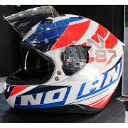 Capacete Nolan N87 Plein Air Branco C/ Viseira Solar - NOVO! - Ganhe Touca Balaclava