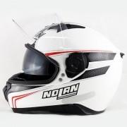 Capacete Nolan N87 Rapid Metal White C/ Viseira Solar - Ganhe Touca Balaclava
