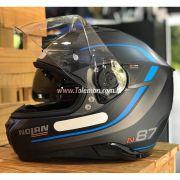 Capacete Nolan N87 Savoir Faire Blue C/ Viseira Solar - Ganhe Touca Balaclava