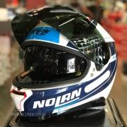Capacete Nolan N87 Skilled Branco/Azul (99) C/ Viseira Solar - Ganhe Touca Balaclava