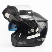 Capacete Nolan N90 Euclid Flat Black/Grey 26 Escamoteável C/ Viseira Solar Interna - (GANHE BALACLAVA NOLAN)