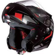 Capacete Nolan N90 Euclid Flat Black/Red 25 Escamoteável C/ Viseira Solar Interna - (GANHE BALACLAVA NOLAN)