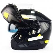 Capacete Nolan N90 Euclid Flat Black/Yellow 27 Escamoteável C/ Viseira Solar Interna - (GANHE BALACLAVA NOLAN)