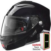 Capacete Nolan N91 Evo Special N-Com Metal Black Escamoteável (GANHE BALACLAVA NOLAN)  C/ Viseira Solar Interna