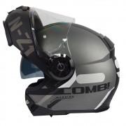 Capacete NZI Combi2 Duo Flydeck Titanium/Preto Fosco Com Viseira Solar Escamoteável/Articulado