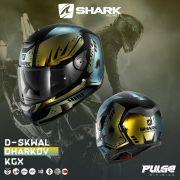 Capacete Shark D-Skwal DHARKOV KGX Preto/AZ/Dourado S/ Led