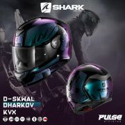 Capacete Shark D-Skwal DHARKOV KVX Preto/vd/roxo S/ Led