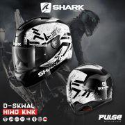 Capacete Shark D-Skwal Hiwo KWK Preto/Branco S/ Led