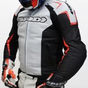 Jaqueta Spidi Track em Couro Branca c/ Vm Fluor  - Semana do Motociclista