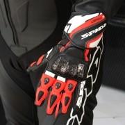 Luva Spidi Carbo 3 Preta / Vermelho em couro (Super Sport)