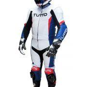 Macacão Tutto Moto BM 2 pçs Branco c/ Azul e Vermelho